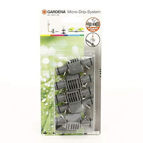 Gardena Micro Drip T-Joint for Spray Nozzles - Accesorio de hogar (Gris, De plástico, 13 mm, 13 mm), paquete de 5