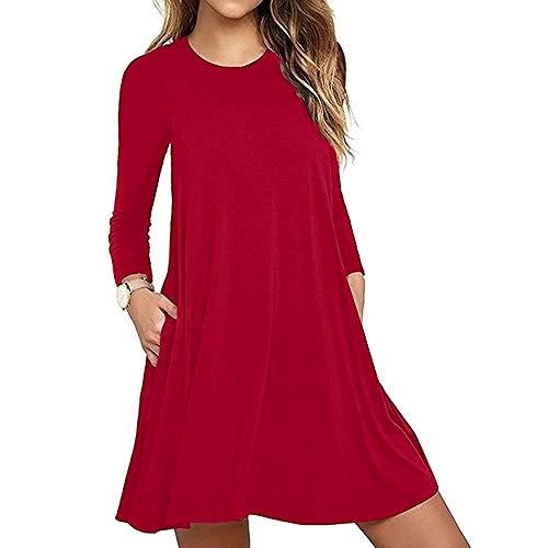 OSYARD Damen Blusekleid Sweatshirt Pullover Kleid Dress, Frauen Feste Lange Hülsen Top Bluse T-Shirt Hemd mit Tasche Große Größe Freizeit Kleid Knielang Lose T-Shirt Kleid Minikleid(2XL, Rot)