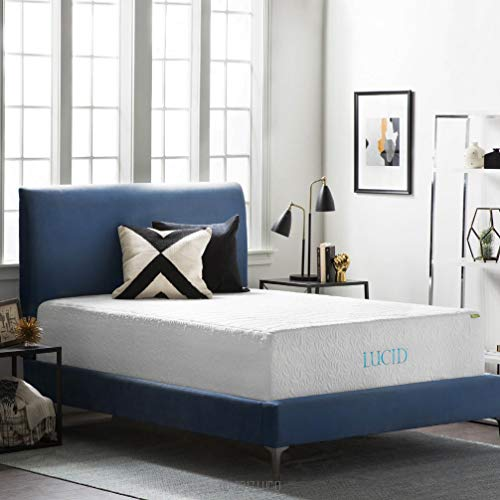 LUCID 16 Inch Plush Gel Memory Mattress-Four-Layer-Infused with Bamboo Charcoal Natural Latex and...