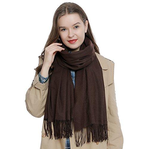 DonDon Damen Schal einfarbig weich 185 x 65 cm dunkelbraun