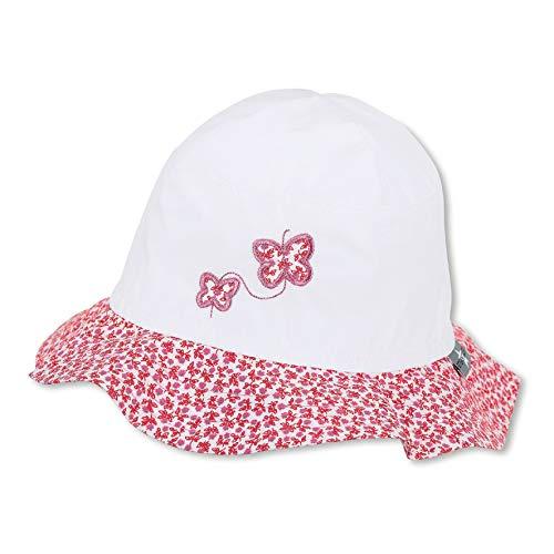 Sterntaler Hut für Mädchen mit Blümchenmuster und Schmetterling-Motiv, Alter: 2-4 Jahre, Größe: 53, Weiß
