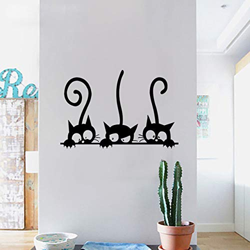 ELGDX Precioso 3 Negro Lindo Gatos Etiqueta La Pared