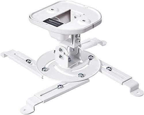 Amazon Basics - Supporto a staffa per proiettore, inclinabile, per soffitto e parete, Capacità 15 kg, Bianco