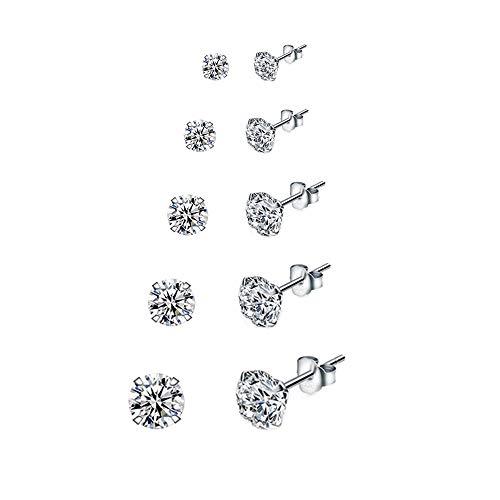 5 Paare 925 Silber Ohrringe Set Ohrstecker Damen Silber Ohrringe Stecker Diamant Ohrringe Mädchen Ohrringe Damen Silber Ohrstecker Herren in 3, 4, 5, 6, 7mm Ohrringe für Damen Männer Mädchen