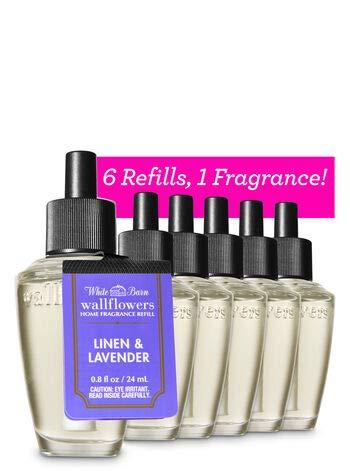 Bath and Body Works 6 Pack Linen & Lavender WallFlower Fragrance Refill 0.8 Oz.