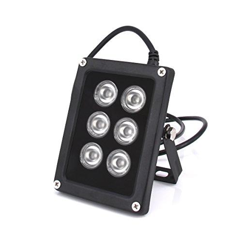 Ir Illuminator 850nm,6 Leds 90 Degree Wide Angle Infrared Illuminator Waterproof for Night Vision IP Camera,CCTV Security Cameras(6W/12V)
