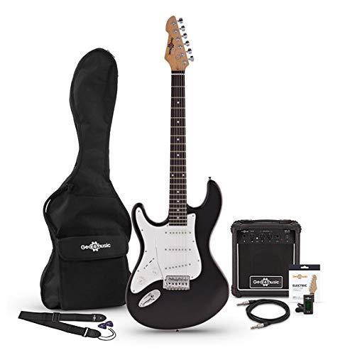 Guitarra Electrica LA Zurda + Paquete de Amplificador de 10 W Negro