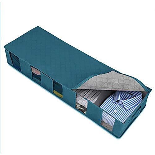 Aimili Organizador de almacenamiento de zapatos para debajo de la cama, caja de almacenamiento de cama plegable, bolsa de almacenamiento, ropa del hogar y zapatos, etc. 97 x 33 x 15 cm, color azul