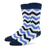 Patron Socks - Bunte Herren Socken mit Muster, Mehrfarbige Socken aus Baumwolle, Blau, Gr. 41-46