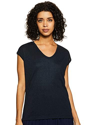ONLY Damen onlSILVERY S/S V Neck Lurex TOP JRS NOOS T-Shirt, Blau (Night Sky), 36 (Herstellergröße: S)