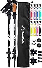 TOUGHER THAN CARBON FIBER - TrailBuddy Trekking Poles' tough aluminum can withstand pressure and impact better than carbon fiber - crucial if hiking on rocky terrain or supporting heavier weight LIGHT AIRCRAFT GRADE ALUMINUM - Aluminum 7075 hiking st...