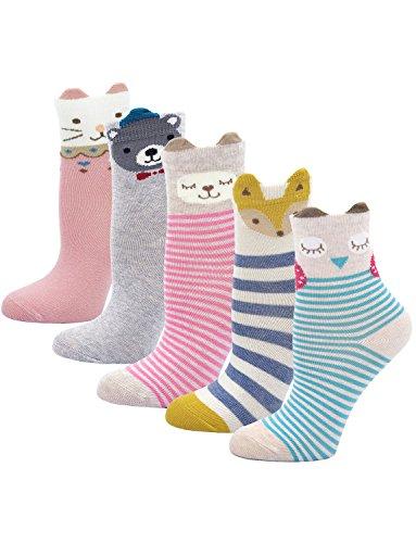 PUTUO Kinder Socken Bunt Gemustert Kleinkind Mädchen Socken aus Baumwolle Nette Karikatur Tier Socken, 8-11 Jahre, Tiermuster-5 Paare