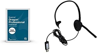 Dragon Professional Individual 15, Dictate Documents and Control your PC – all by Voice [PC Download] with Dragon USB Headset