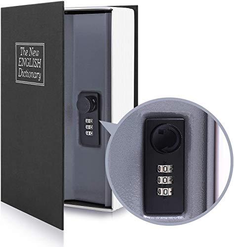 BuchSafe mit Kombinationsschloss, Ohuhu Buchtresor Wörterbuch mit Geheimfach, Wertsachen Versteck für Büro und zu Hause (Mittel Schwarz)