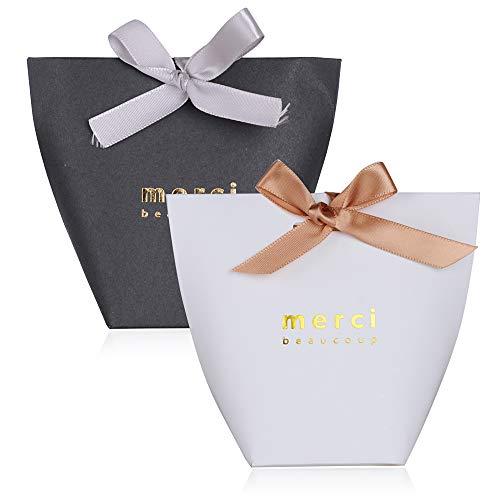 SERWOO 50pcs Cajas de Caramelos Regalo Dulces Bombomnes Galletas Merci para Boda Bautizo Fiesta Navidad Cumpleaños con Cinta (Blanco y Negro, Merci)