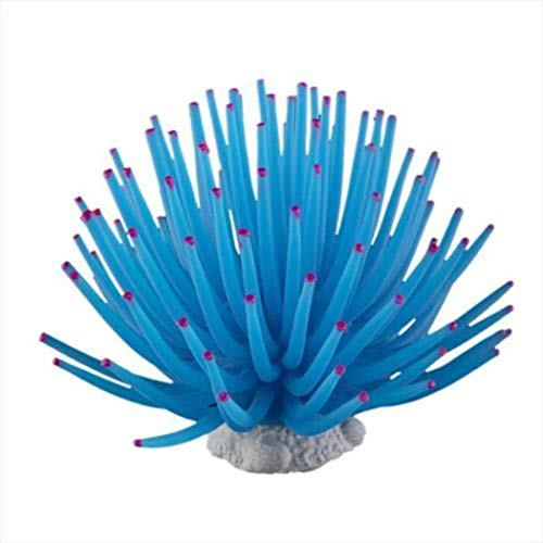 LIPETLI Blaue Silikonkoralle Aquarium Dekoration Aquarium Liefert Weichkorallen Ornament Geeignet für Fische Wasserorganismen