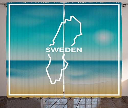 Preisvergleich Produktbild LULUZXOA Swedish Curtains,  Sweden Map Rough Outline Against The Backdrop of Sunny Beach and Tropical Sea,  Living Room Bedroom Window Drapes 2 Panel Set,  Blue White Amber, 57 * 41 inch