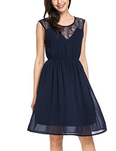 Zeagoo Damen Chiffonkleid Sommerkleider Elegant Party Cocktailkleid Abendkleid Spitzen Kleid Ärmellos A Linie Blau XL