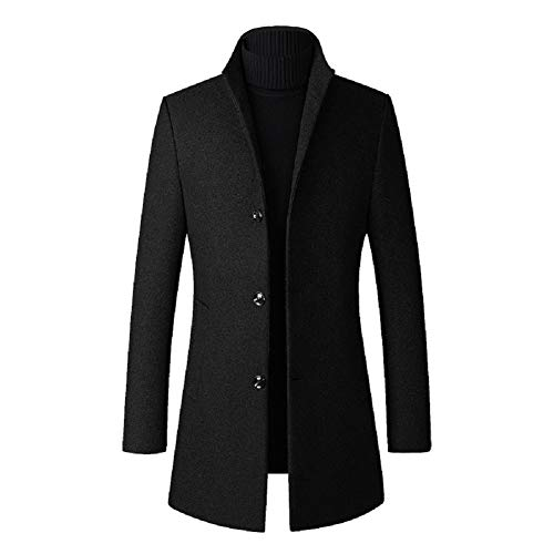 Chartou Men's Stand Collar Woolen Quilted Lined Mid Long Business Jacket Coat (Medium, Black Lined)