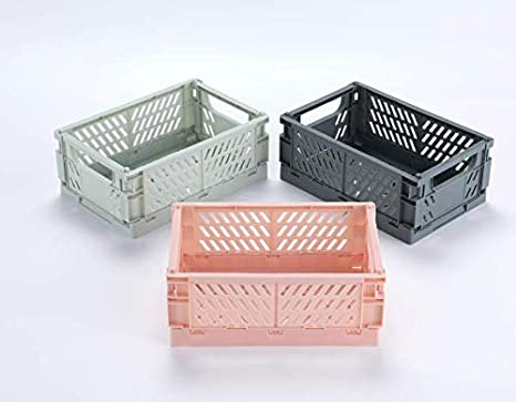 Plastic Collapsible Crate Folding Storage Basket for Shelves 3pcs, Macaron Gray M: 9.966.54.06in New Stackable Container Organizing Bins for Storage for Home Office Kitchen Bathroom Grocery