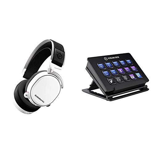 SteelSeries Arctis Pro Wireless – Drahtlos Gaming-Headset – hochauflösende Lautsprechertreiber – Weiß & Elgato Stream Deck Live Content Creation Controller (mit personaliserbaren LCD-Tasten)