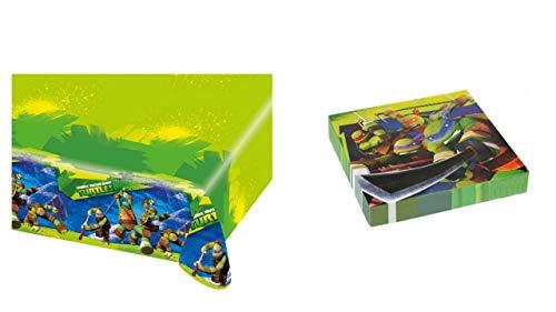 2503; Wegwerp Ninja Turtle; Ninja Turtle; ideaal voor feesten en verjaardagen; samengesteld uit plastic tafelkleed afmetingen 120x180 cm; en pak van 20 papieren servetten