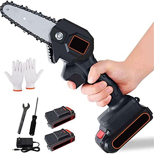 NMQQ Mini Handheld Cordless Kettensä ge Mit Ladegerät Und 2 Batterien, 4-Zoll 24V Cordless Electric Protable Kettensäge, Für Holz- Und Metallschneiden