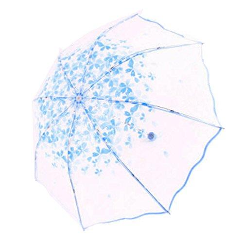 Portable Floral Clear Pink Triple Plegable Paraguas Lluvia al Aire Libre para...
