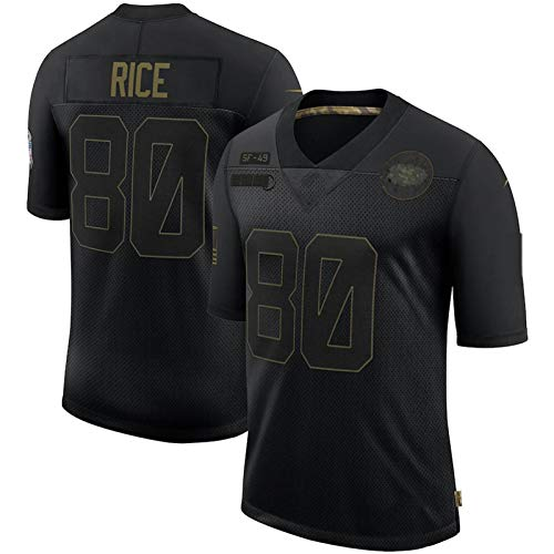 LIEOAGB Maillot de rugby 49êrš # 80 T-shirt de fan de riz, maillot de football américain brodé à manches...