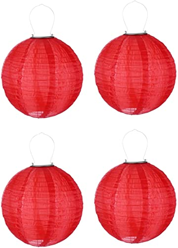 MRZJ Farolillo LED solar para exterior, 30 cm, forma de bola, lámpara de papel, IP55, resistente al agua, para decoración de iglesia, 4 unidades, 30 x 30 cm, color rojo