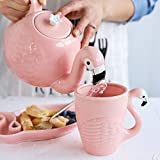 Creative Ceramic Teapot Set Flamingo Teacup Set Cute Animal Coffee Cup Pink Porcelain Tea Pot Birthday Gift Decoration (Pink Bird 1)