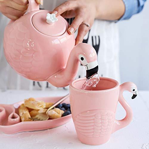 Lucky House Kreative Keramik Teekanne Set Flamingo Teetasse Set Niedliche Tier Kaffeetasse Rosa Porzellan Teekanne Geburt (Rosa Vogel 1)