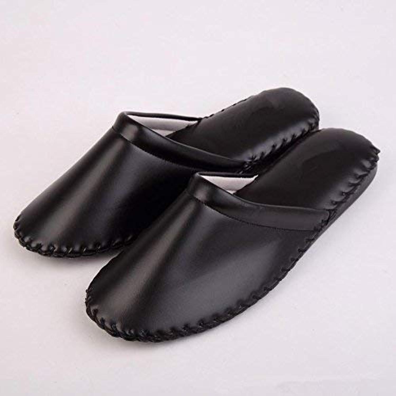 GouuoHi Men Slipper Men Fashion Leisure Home Leather Interior Non Slip Slippers Soild color Personality Quality for Men Black