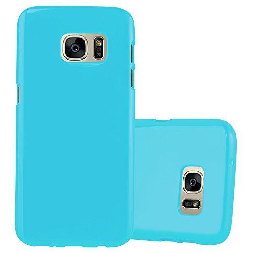 Cadorabo Custodia per Samsung Galaxy S7 in Jelly Celeste – Morbida Cover Protettiva Sottile di Silicone TPU con Bordo Protezione – Ultra Slim Case Antiurto Gel Back Bumper Guscio