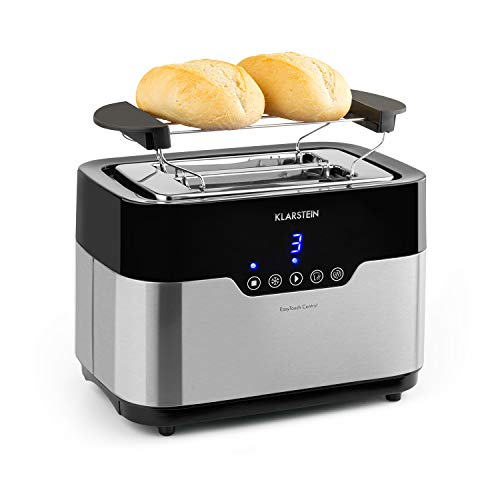 Klarstein Arabica Toaster - 920W, Touch-Bedienfeld, LED-Display, Auftau, Aufwärm- und Abbruchfunktion, Aufbackrost, Krümelschublade, Kabelaufwicklung, Edelstahl