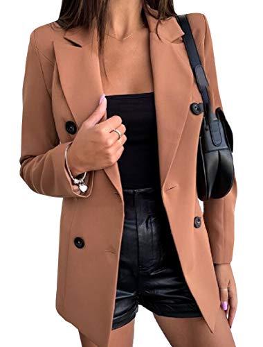 SOWTKSL Women Long Sleeve Open Front Work Office Blazer Jacket Basic OL Leopard Blazer Suit Khaki L