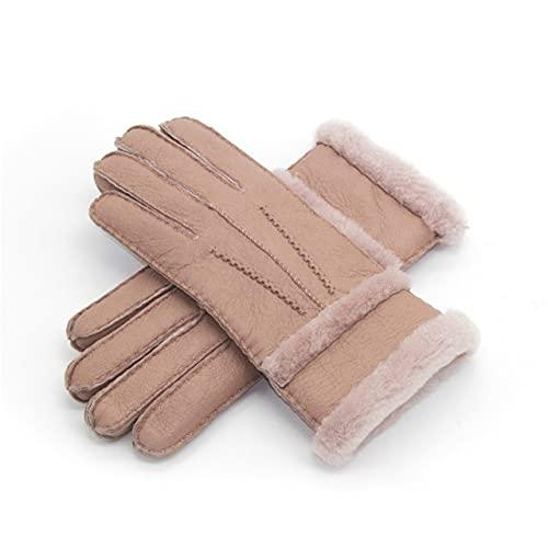 Guantes de muñeca de Cinco Dedos para Exteriores con Forro Polar cálido de Invierno, otoño e Invierno para Hombres y Mujeres de Moda - Rosa para Mujer, Talla única