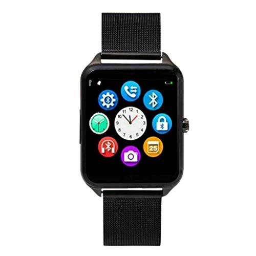 Huante Reloj Inteligente Z60 Correa de Metal Soporte CáMara Tarjeta SIM TF Compatible Android PK Y1 S8 X7D DZ09 V8 Reloj (Negro)