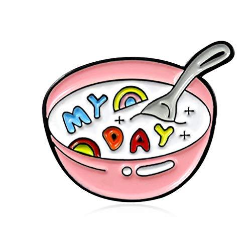 Suoryisrty Cartoon niedliche Milch Schüssel Form Mini Pins Legierung mein Tag Brosche Abzeichen Emaille Revers Pin niedliche Kleider Hut Schal Dekor Zubehör