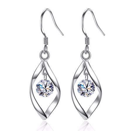 Pendientes Mujer largos plata de Ley 925,Aretes largos mujer plata,forma de gota,y cristal Circonia AAA,Incluye caja para regalo
