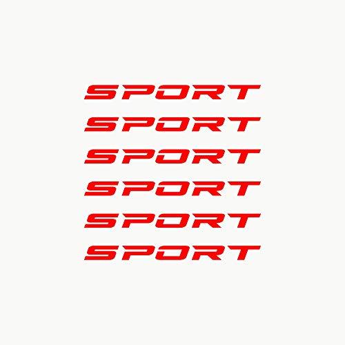 Autodomy Pegatinas Sport Llantas Salpicadero Espejo Retrovisor Pack de 6 Unidades para Coche o Moto (Rojo)