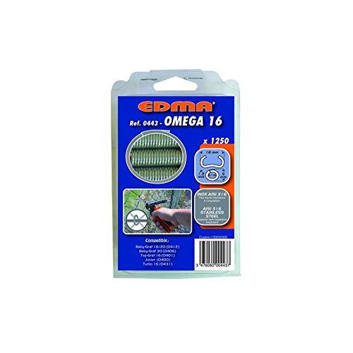 Agrafes x1250 Oméga 16 Inox AISI 316 0443