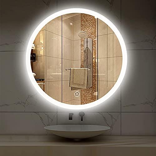 ZCZZ Espejo de baño Redondo Iluminado,? Espejo de tocador con 3 Luces de Colores Espejo de Pared Espejo de Maquillaje Regulable con Luces, IP44? Impermeable