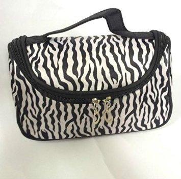 Mintbon Fashion Zebra Pattern Black White Lady Women Girls Makeup Bag Women Portable Cosmetic Toiletry Bags Travel Storage Organizer