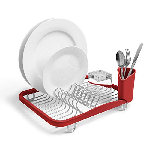 Umbra Sinkin Drying Rack – Dish Drainer Caddy with Removable Cutlery Holder topder Fits in, Over Sink or on Counter top, Medium, Red/Nickel