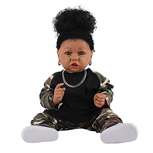 African Black Skin Reborn Baby Doll Simulación De Lifelike Simulación Baby Doll Toy Mejor Cumpleaños Niños (58 Cm)
