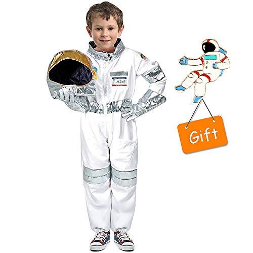 Tacobear Astronaut Kostüm Kinder mit Astronaut Helm Astronaut Handschuhe Space Kostüm Rollenspiel für Kinder Halloween Cosplay Karneval Geburtstagsparty (M)