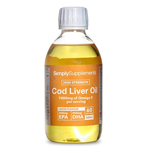 Huile de foie de morue liquide saveur citron – Bouteille de 300 ml – Jusqu'à 2 mois de bienfaits – SimplySupplements