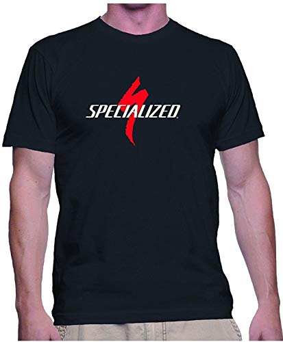 Classic Specialized Logo Tee Shirt Mens Round Neck Short Sleeves Cotton T-Shirt Bicycle Bike Top Clothing Black