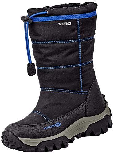 Geox Jungen Snowboots Himalaya Boy WPF, Kinder Stiefel,Winterstiefel,Schneestiefel,Schneeboots,Moon Boots,Canadians,Black/Blue,30 EU / 11.5 UK Child